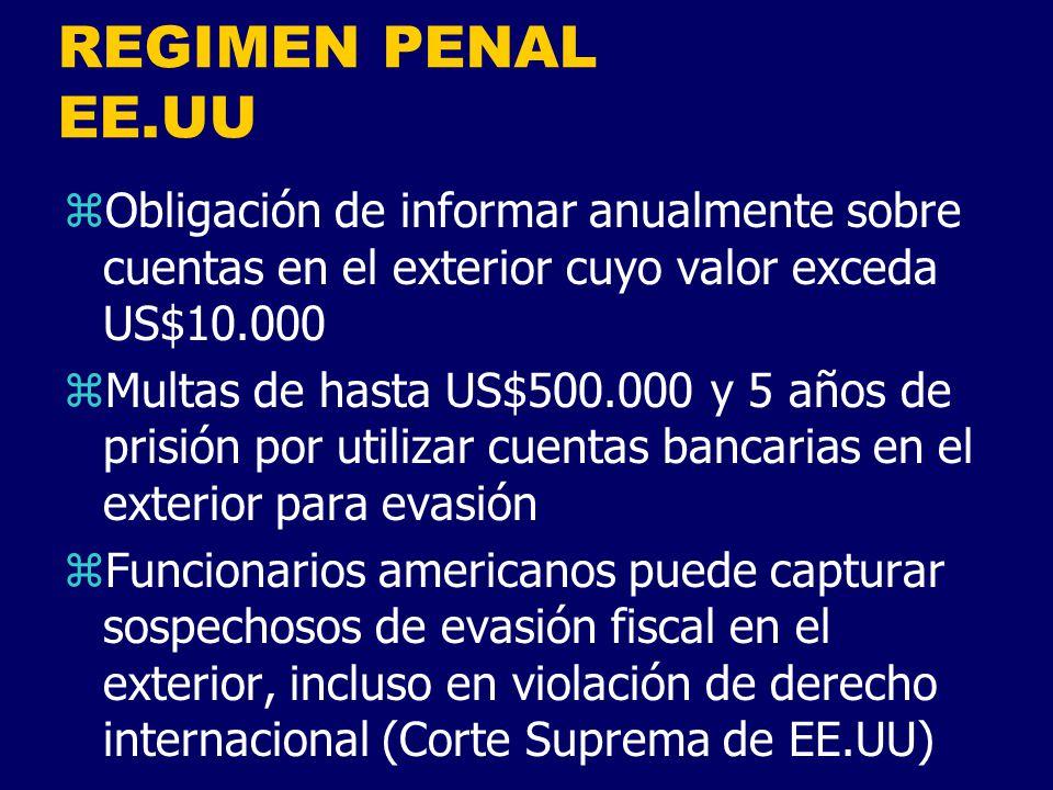 REGIMEN PENAL EE.UU Obligación de informar anualmente sobre cuentas en el exterior cuyo valor exceda US$10.000.