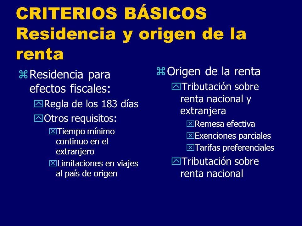CRITERIOS BÁSICOS Residencia y origen de la renta