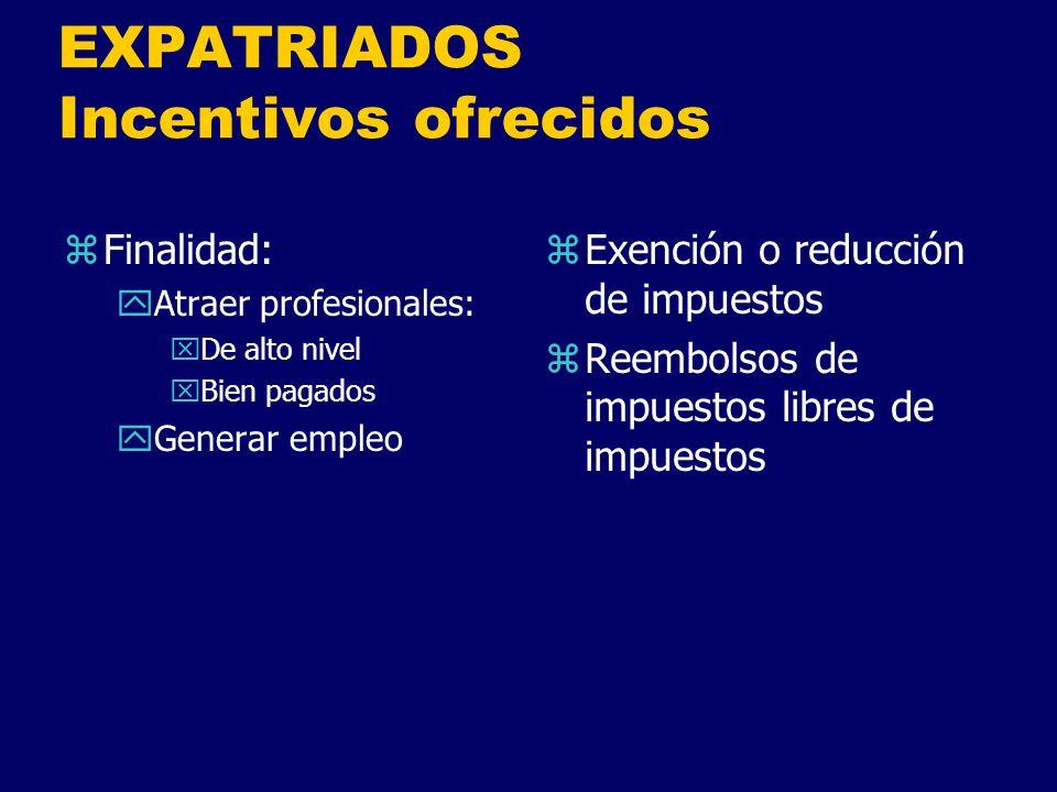 EXPATRIADOS Incentivos ofrecidos