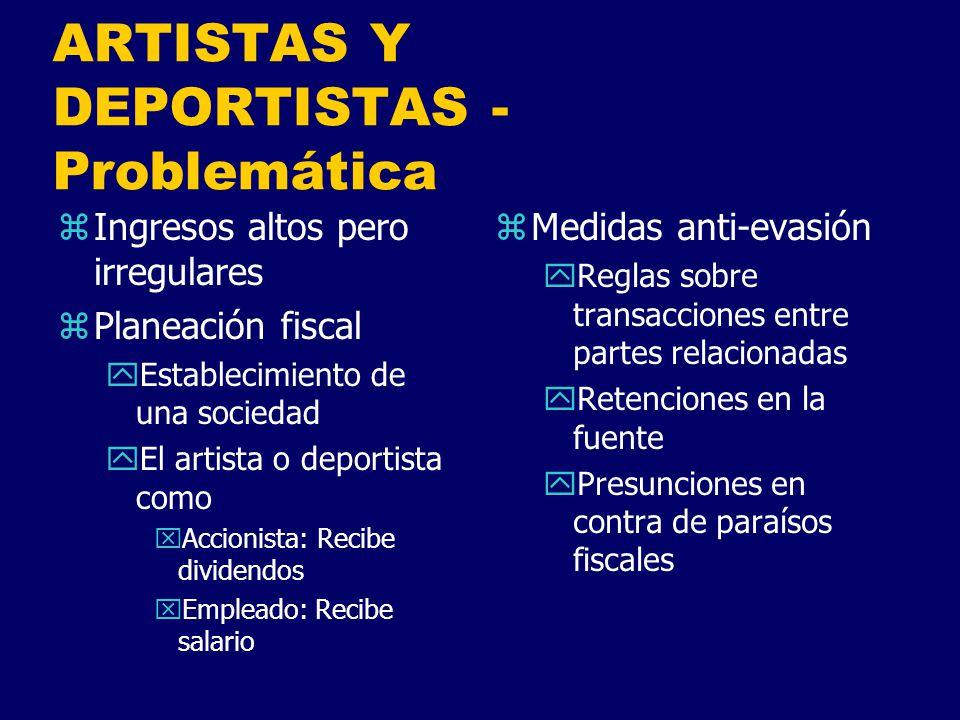 ARTISTAS Y DEPORTISTAS - Problemática