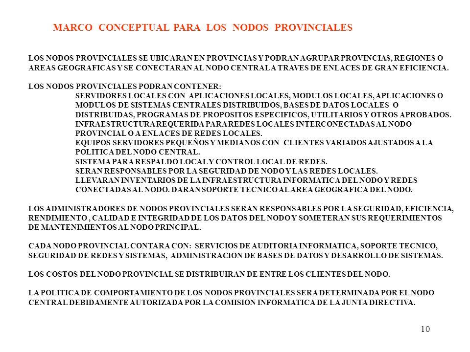 MARCO CONCEPTUAL PARA LOS NODOS PROVINCIALES