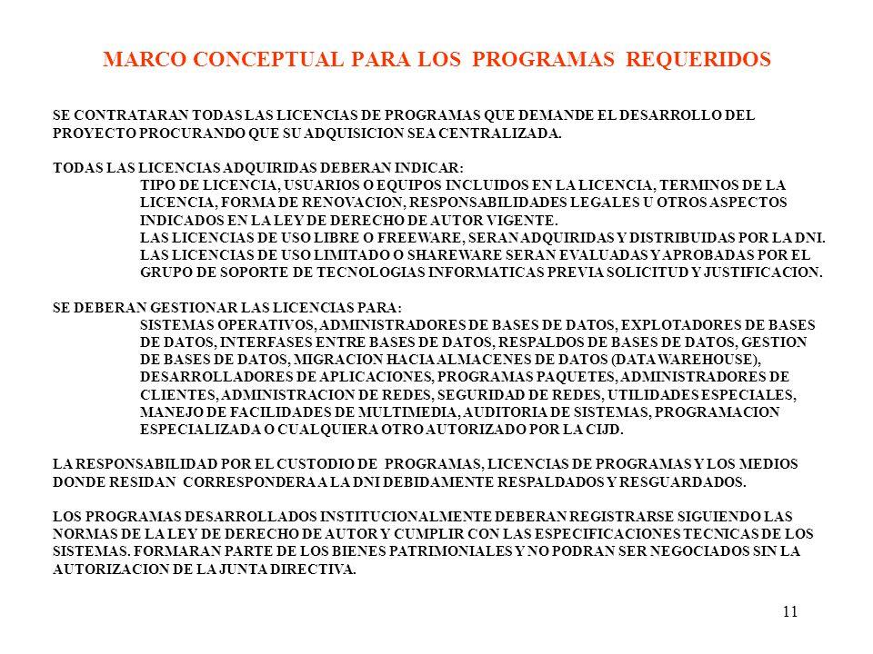 MARCO CONCEPTUAL PARA LOS PROGRAMAS REQUERIDOS