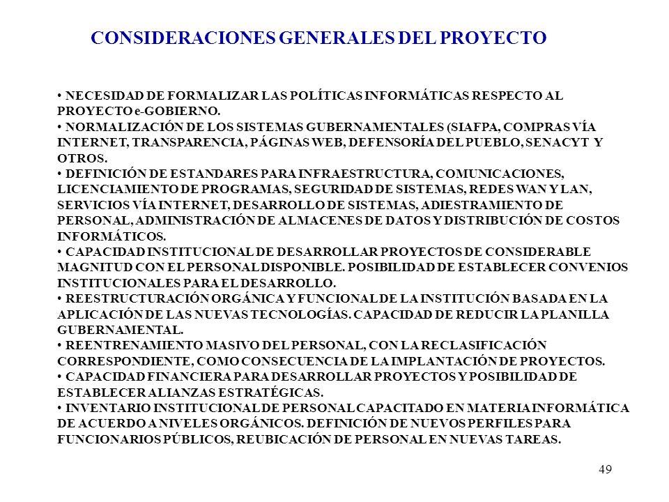CONSIDERACIONES GENERALES DEL PROYECTO