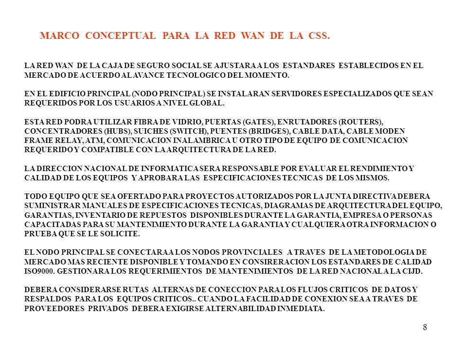 MARCO CONCEPTUAL PARA LA RED WAN DE LA CSS.