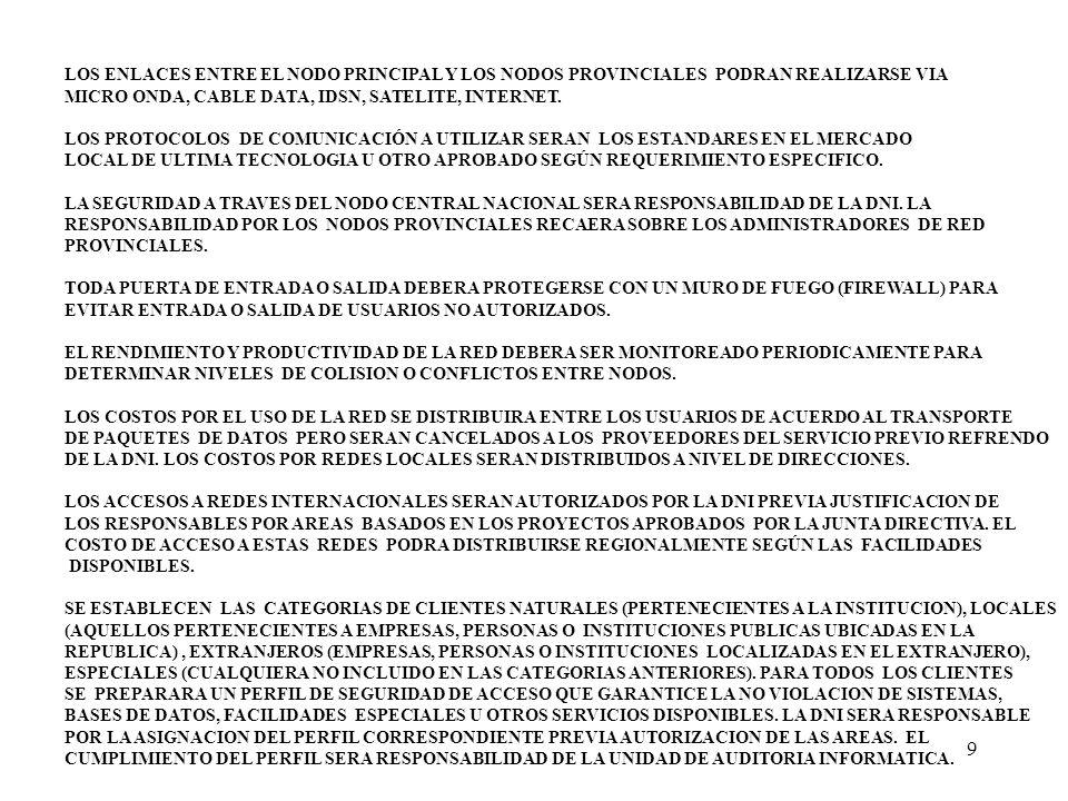 LOS ENLACES ENTRE EL NODO PRINCIPAL Y LOS NODOS PROVINCIALES PODRAN REALIZARSE VIA