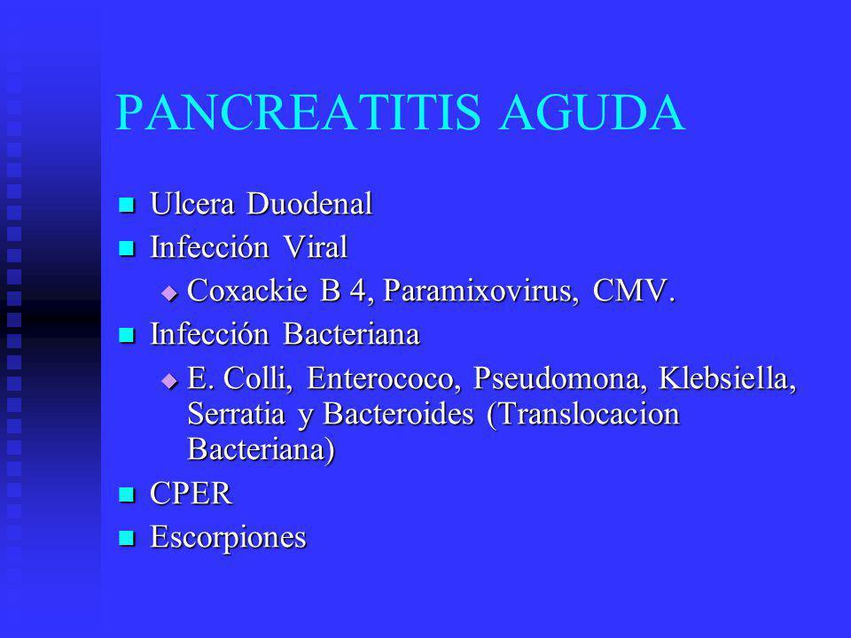 PANCREATITIS AGUDA Ulcera Duodenal Infección Viral