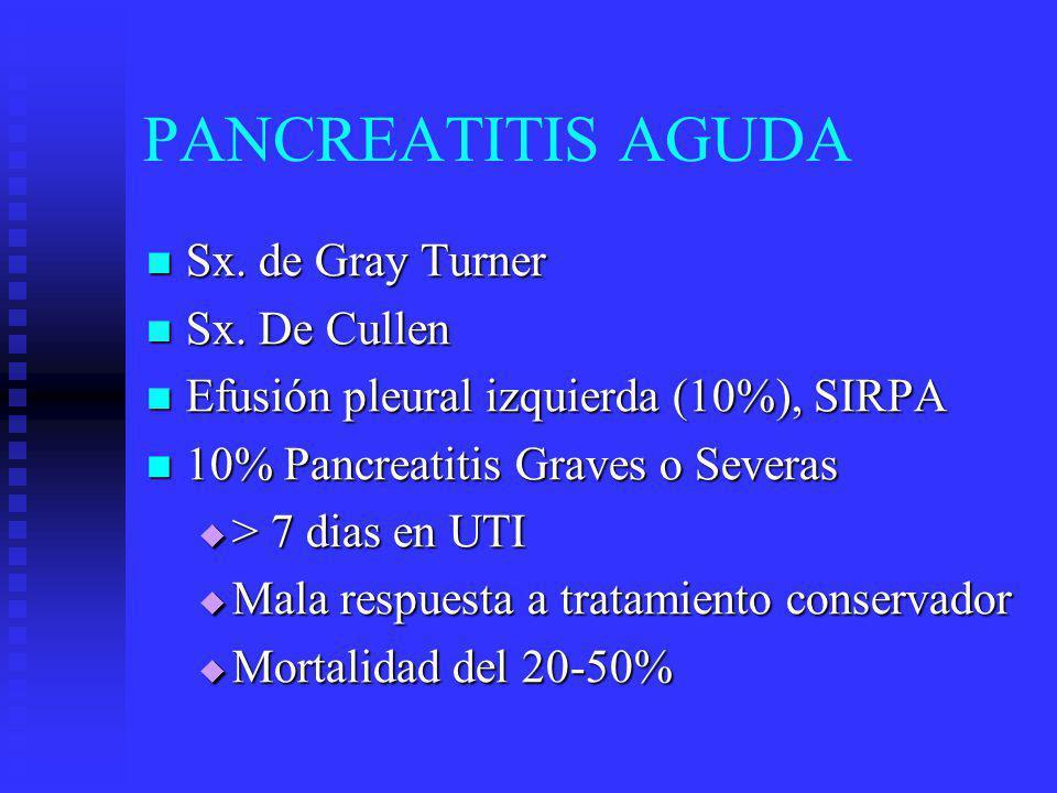 PANCREATITIS AGUDA Sx. de Gray Turner Sx. De Cullen