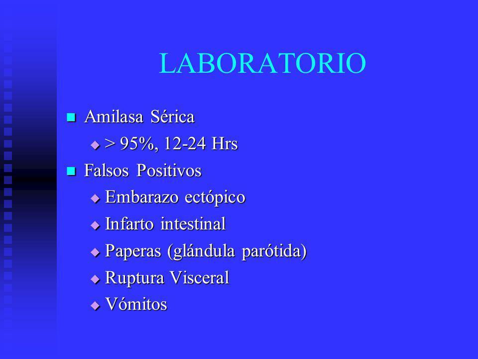 LABORATORIO Amilasa Sérica > 95%, 12-24 Hrs Falsos Positivos
