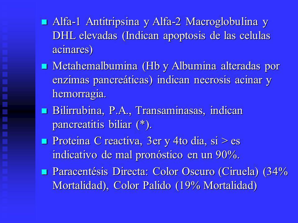 Alfa-1 Antitripsina y Alfa-2 Macroglobulina y DHL elevadas (Indican apoptosis de las celulas acinares)