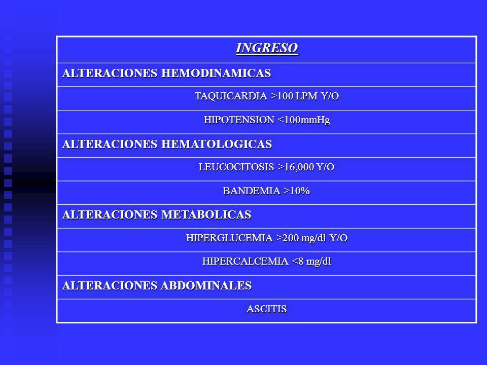 INGRESO ALTERACIONES HEMODINAMICAS ALTERACIONES HEMATOLOGICAS