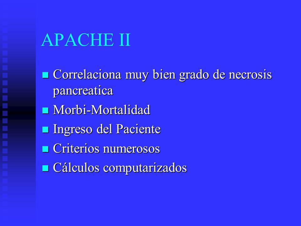 APACHE II Correlaciona muy bien grado de necrosis pancreatica