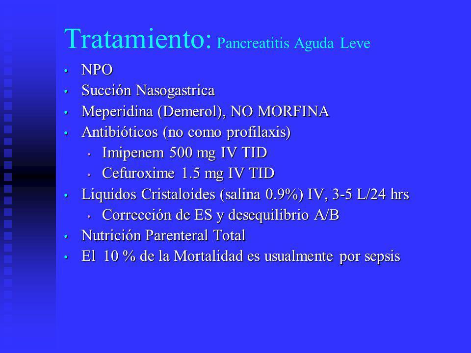 Tratamiento: Pancreatitis Aguda Leve