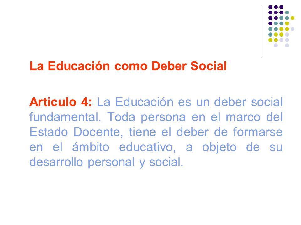 La Educación como Deber Social