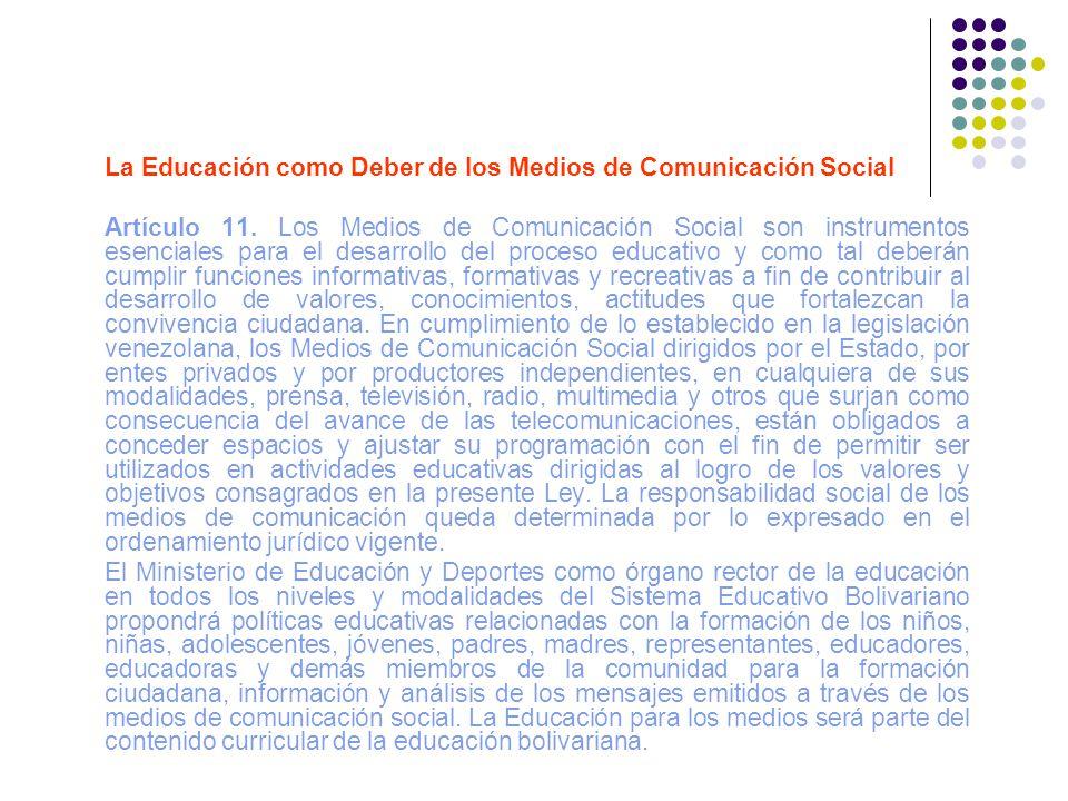 La Educación como Deber de los Medios de Comunicación Social