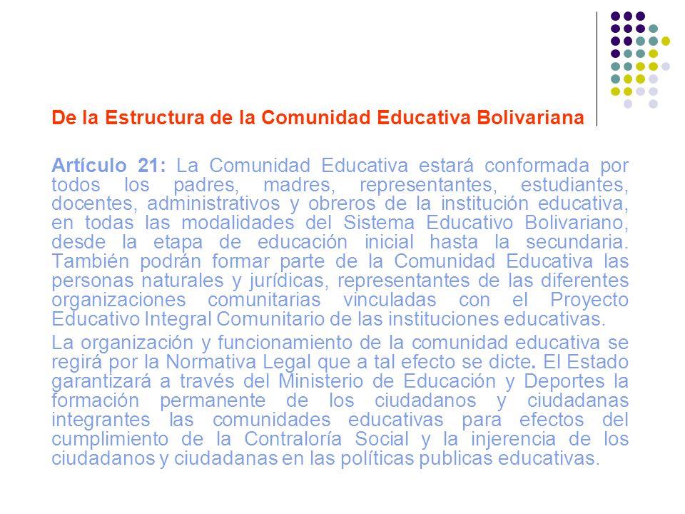 De la Estructura de la Comunidad Educativa Bolivariana