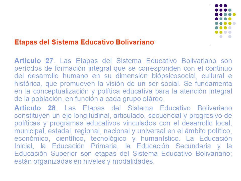 Etapas del Sistema Educativo Bolivariano
