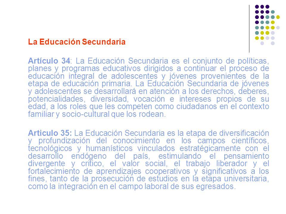 La Educación Secundaria