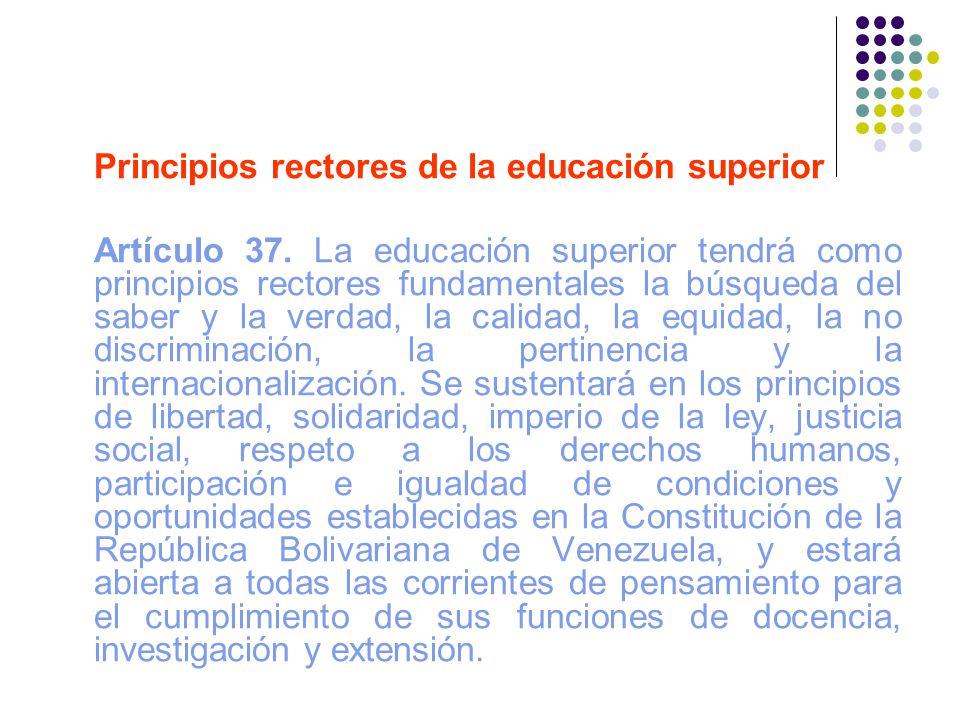 Principios rectores de la educación superior
