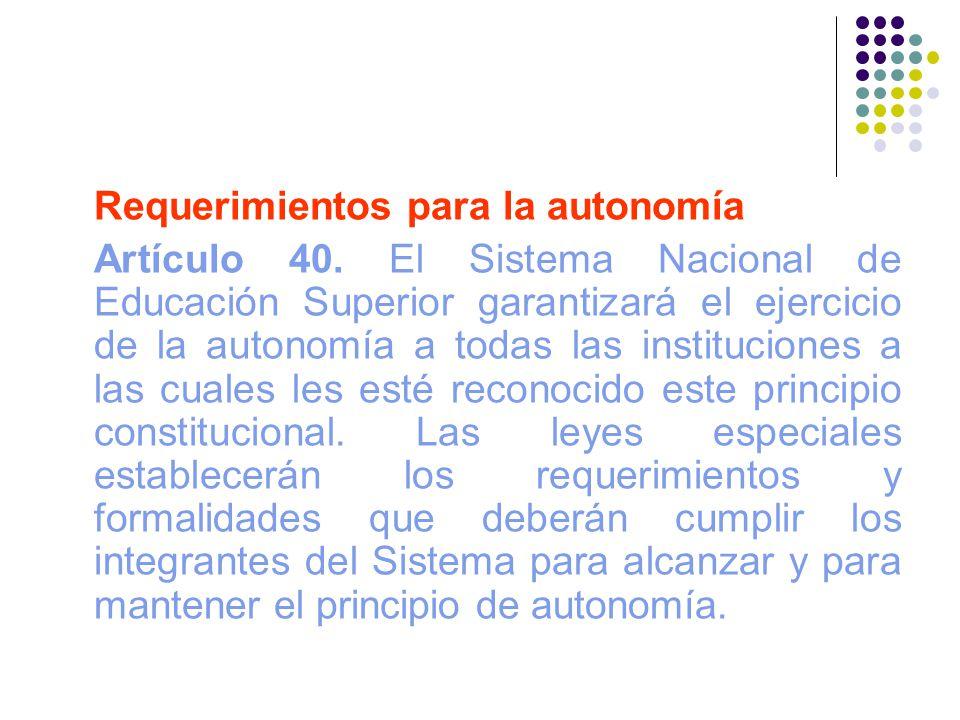 Requerimientos para la autonomía