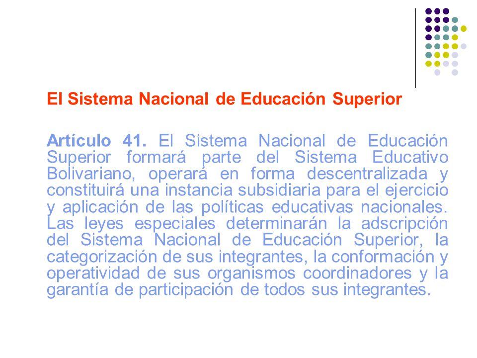 El Sistema Nacional de Educación Superior