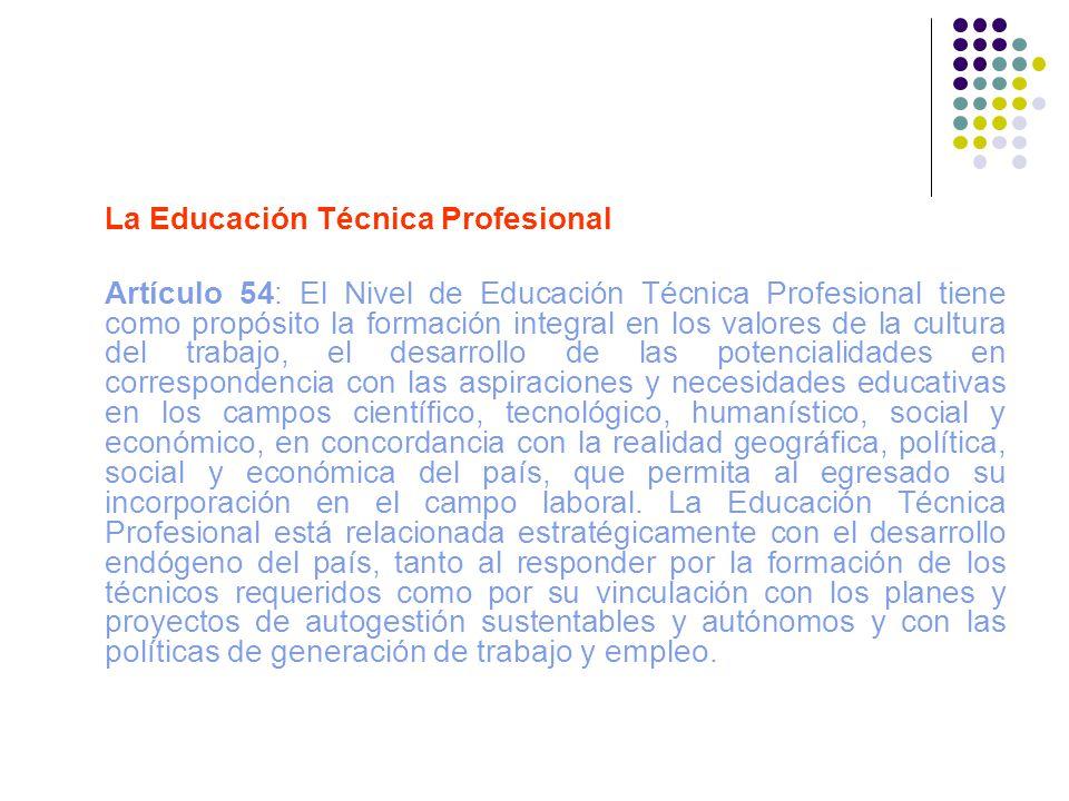 La Educación Técnica Profesional