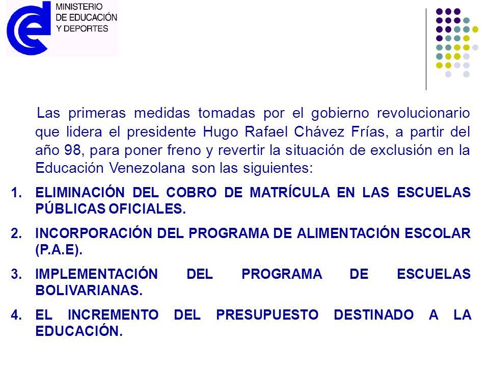 Las primeras medidas tomadas por el gobierno revolucionario que lidera el presidente Hugo Rafael Chávez Frías, a partir del año 98, para poner freno y revertir la situación de exclusión en la Educación Venezolana son las siguientes: