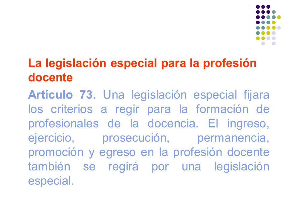 La legislación especial para la profesión docente