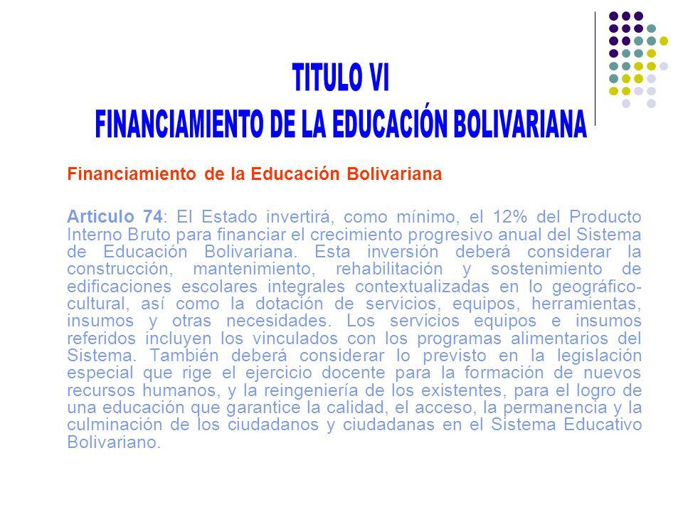 FINANCIAMIENTO DE LA EDUCACIÓN BOLIVARIANA