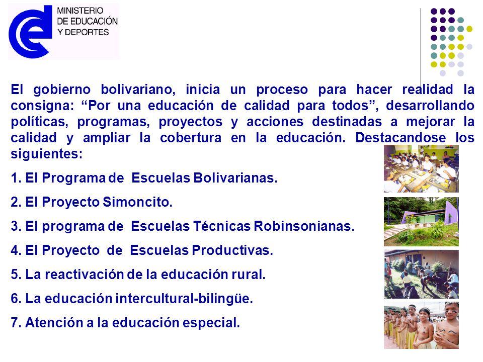 El gobierno bolivariano, inicia un proceso para hacer realidad la consigna: Por una educación de calidad para todos , desarrollando políticas, programas, proyectos y acciones destinadas a mejorar la calidad y ampliar la cobertura en la educación. Destacandose los siguientes: