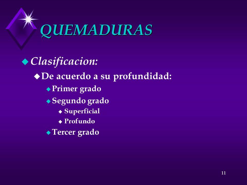 QUEMADURAS Clasificacion: De acuerdo a su profundidad: Primer grado
