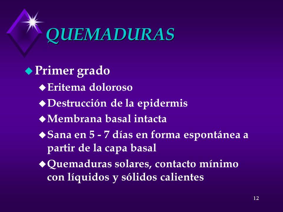 QUEMADURAS Primer grado Eritema doloroso Destrucción de la epidermis