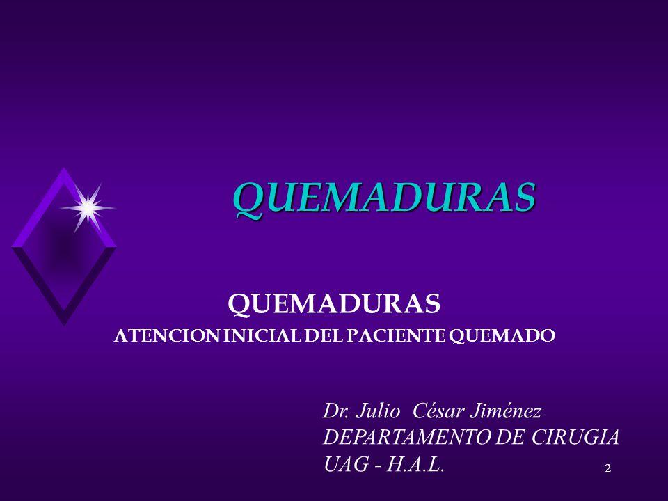 QUEMADURAS ATENCION INICIAL DEL PACIENTE QUEMADO