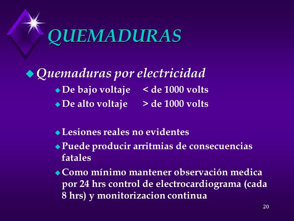 QUEMADURAS Quemaduras por electricidad