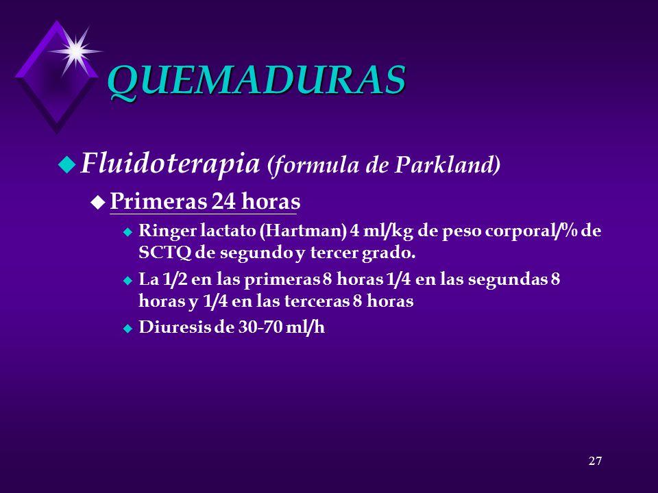 QUEMADURAS Fluidoterapia (formula de Parkland) Primeras 24 horas