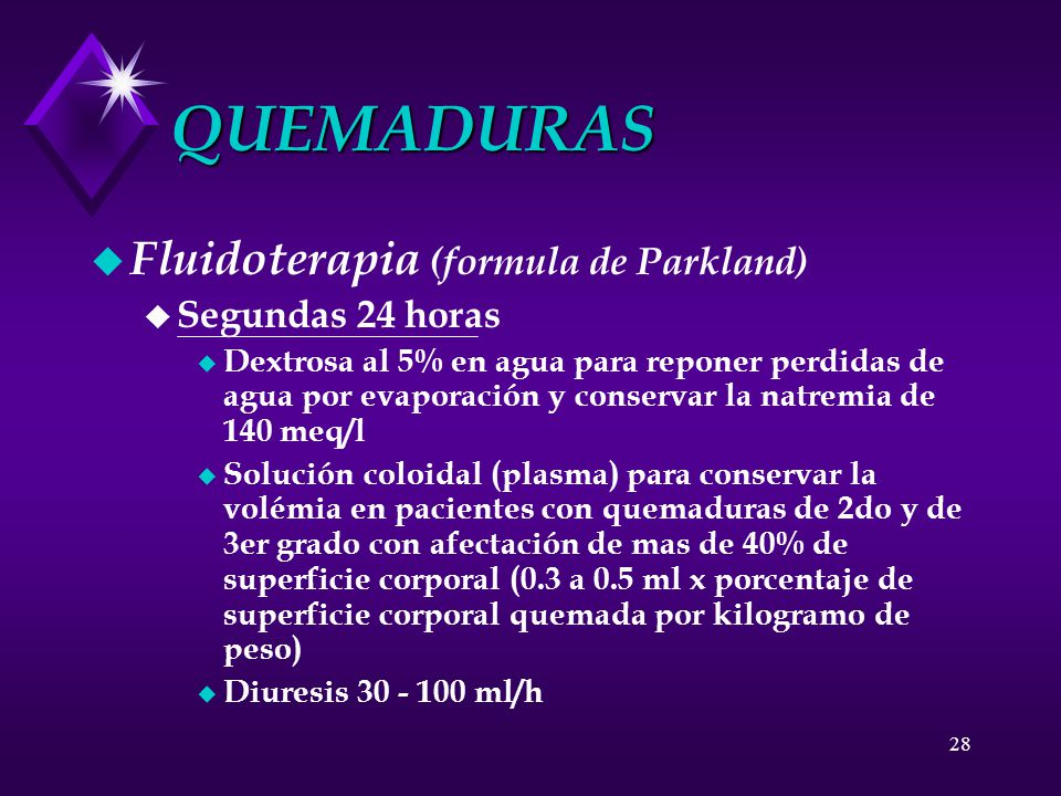 QUEMADURAS Fluidoterapia (formula de Parkland) Segundas 24 horas