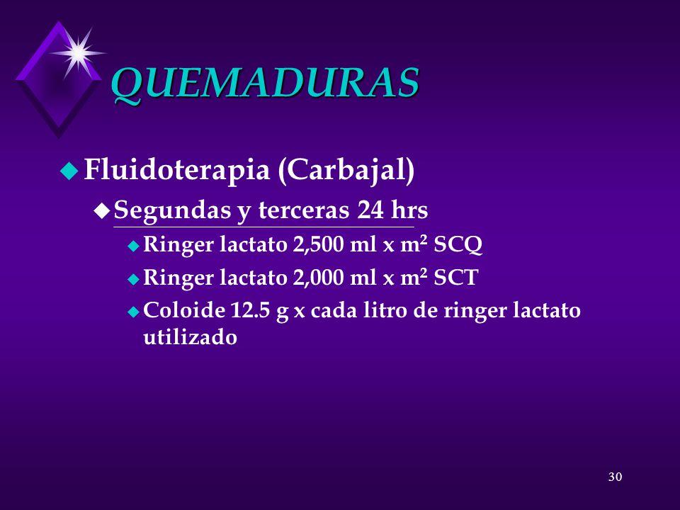 QUEMADURAS Fluidoterapia (Carbajal) Segundas y terceras 24 hrs