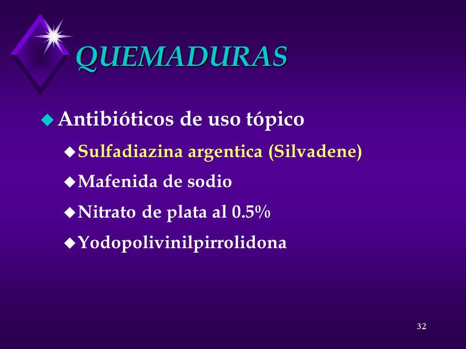 QUEMADURAS Antibióticos de uso tópico