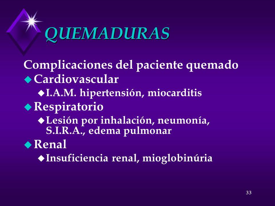 QUEMADURAS Complicaciones del paciente quemado Cardiovascular
