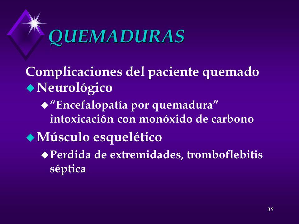 QUEMADURAS Complicaciones del paciente quemado Neurológico