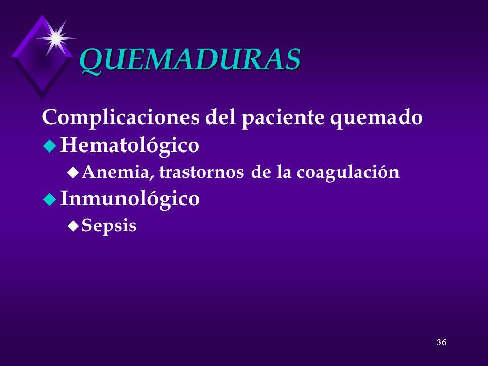 QUEMADURAS Complicaciones del paciente quemado Hematológico
