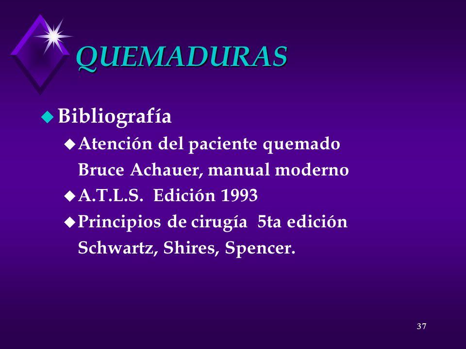 QUEMADURAS Bibliografía Atención del paciente quemado