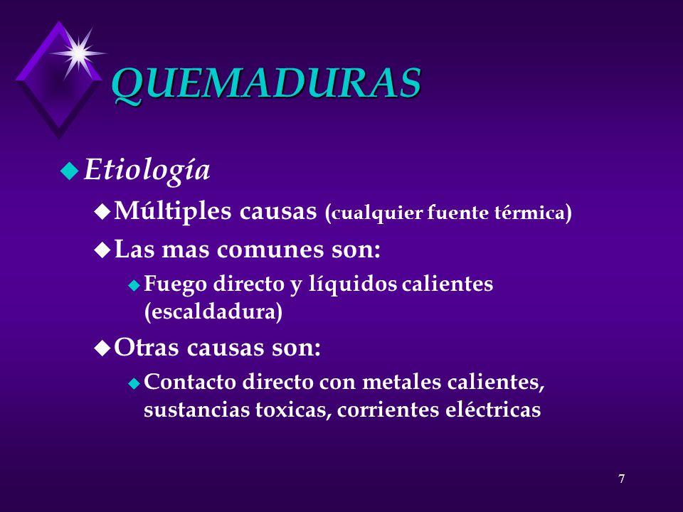 QUEMADURAS Etiología Múltiples causas (cualquier fuente térmica)