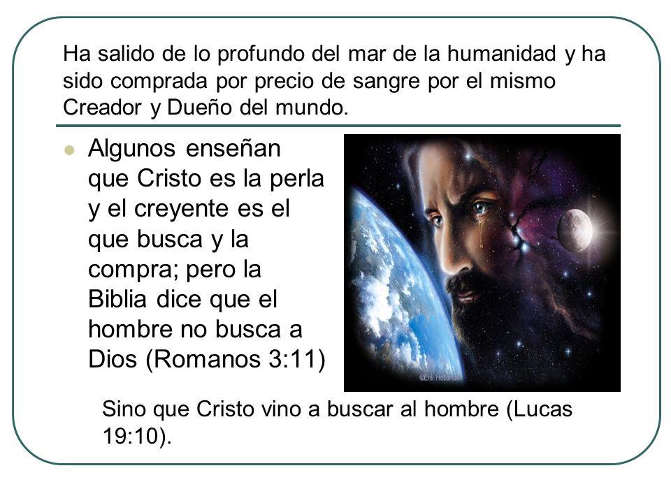 Ha salido de lo profundo del mar de la humanidad y ha sido comprada por precio de sangre por el mismo Creador y Dueño del mundo.