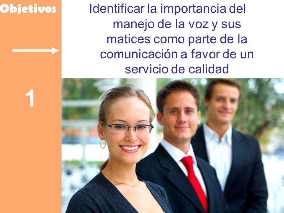 Objetivos Identificar la importancia del manejo de la voz y sus matices como parte de la comunicación a favor de un servicio de calidad.
