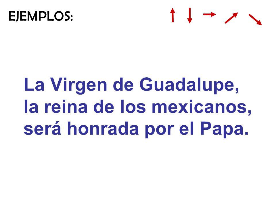 EJEMPLOS: La Virgen de Guadalupe, la reina de los mexicanos, será honrada por el Papa.