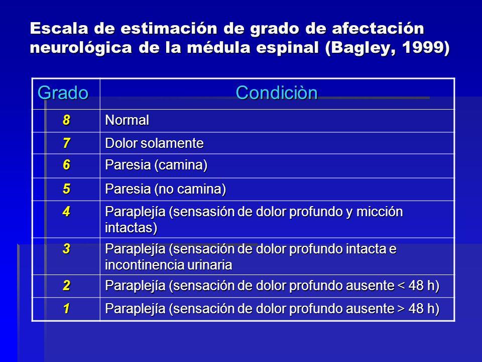 Escala de estimación de grado de afectación neurológica de la médula espinal (Bagley, 1999)