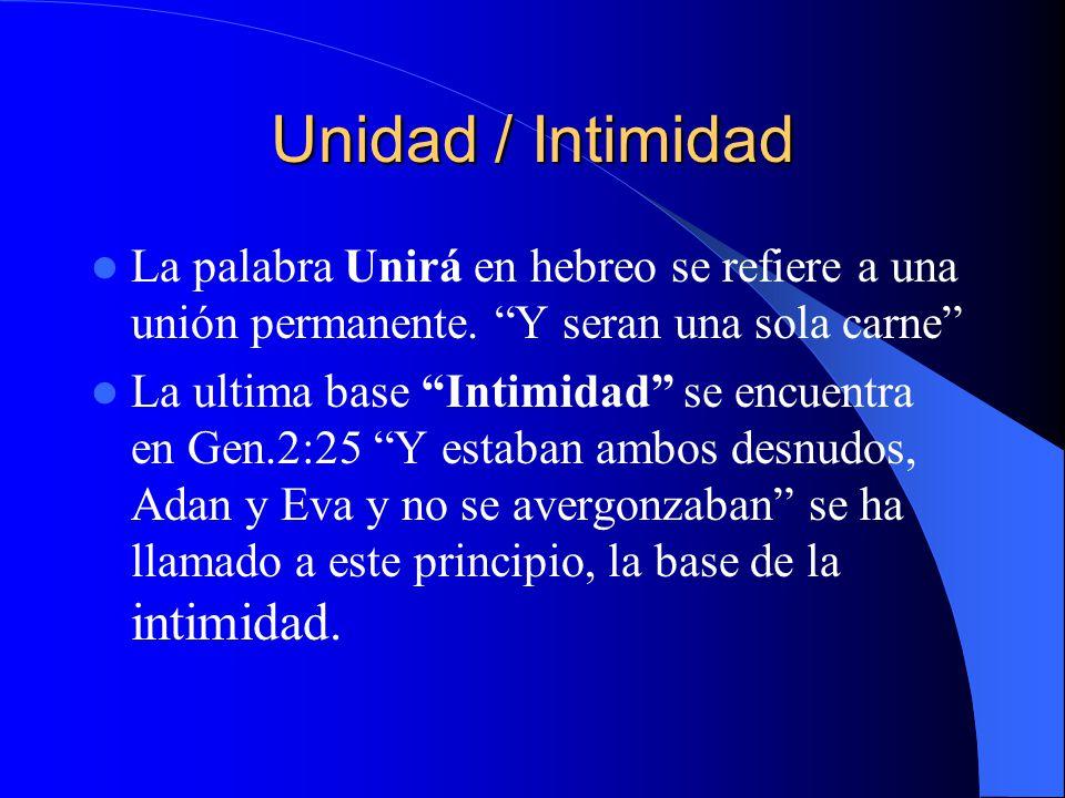 Unidad / Intimidad La palabra Unirá en hebreo se refiere a una unión permanente. Y seran una sola carne