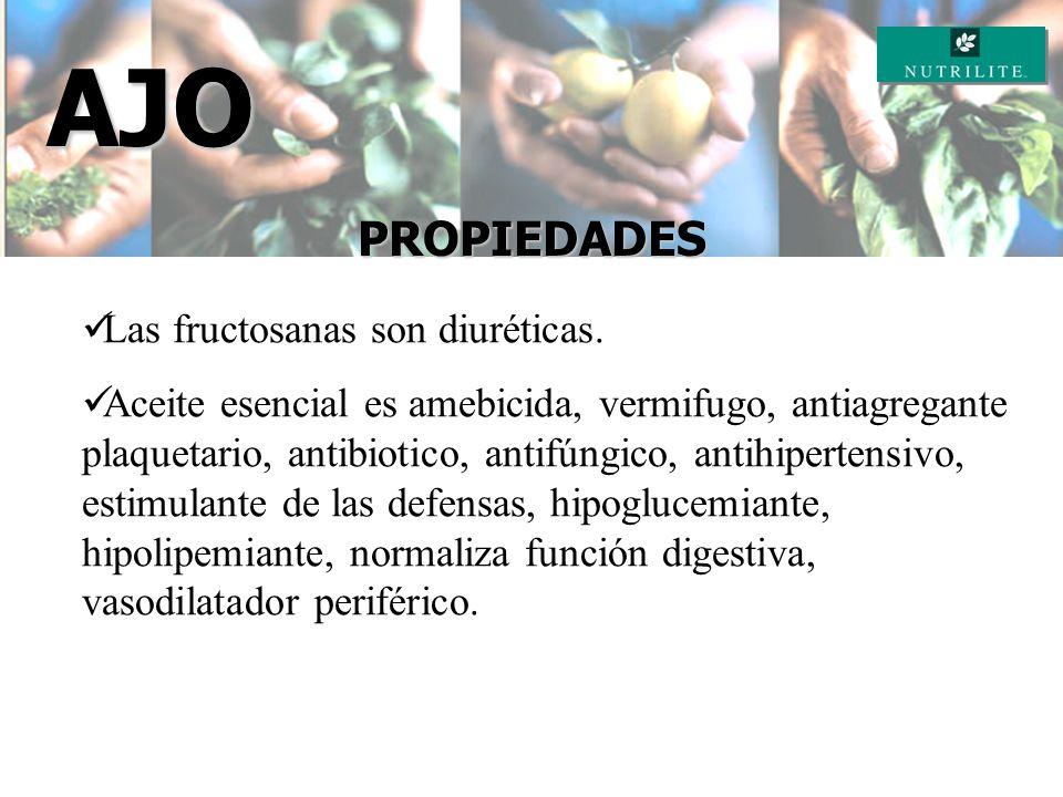 AJO PROPIEDADES Las fructosanas son diuréticas.