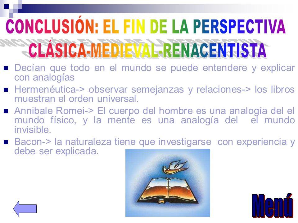CONCLUSIÓN: EL FIN DE LA PERSPECTIVA CLÁSICA-MEDIEVAL-RENACENTISTA