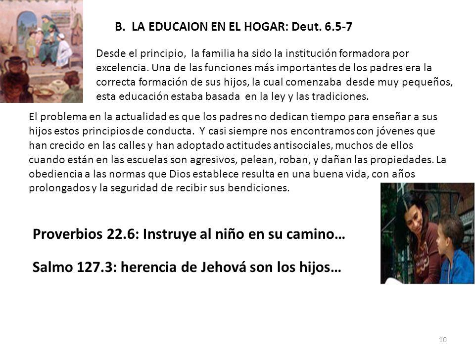 B. LA EDUCAION EN EL HOGAR: Deut. 6.5-7